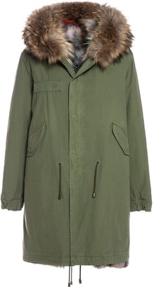 Mr & Mrs Italy Exclusive Fw20 Icon Parka: Army Cotton Canvas Parka With Patch Fox Fur Lining