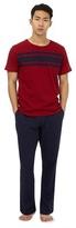 Tommy Hilfiger Red Striped Print Yoke Pyjama Top