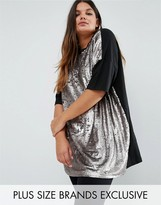 Daisy Street Plus Short Sleeve Jersey Top With Sequin Front