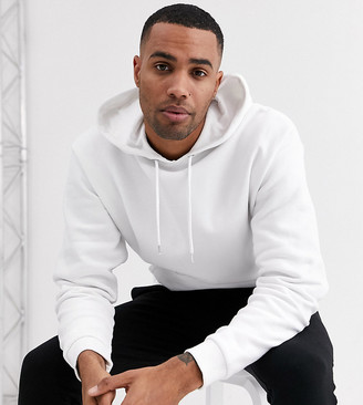 Asos DESIGN Tall oversized longline hoodie in white with silver side zips