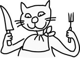 PickYourImage Reprint of A cat hold a knife and a fork.