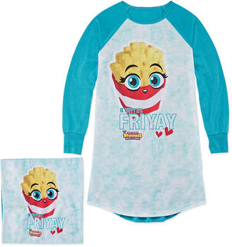 Asstd National Brand Soft'N Slo Squishies Friyay Nightshirt with Matching Pillow Case - Girls