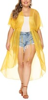 Look Fashion Women's Swimsuit Coverups Yellow - Yellow Sheer Tie-Waist Cover-Up - Women & Plus