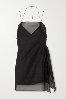 Ioannes Camilla Ruched Organza And Stretch-silk Mini Dress