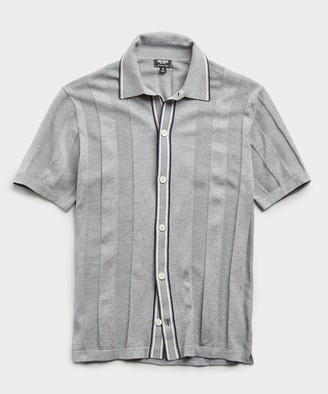 Todd Snyder Italian Cotton Silk Tipped Ribbed Button Down Polo in Heather Grey