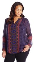 Lucky Brand Women's Plus-Size Placed Geo Top