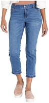 Elliott Lauren Washed Stretch Denim Five-Pocket Jeans with Frayed Hem in Denim (Denim) Women's Jeans