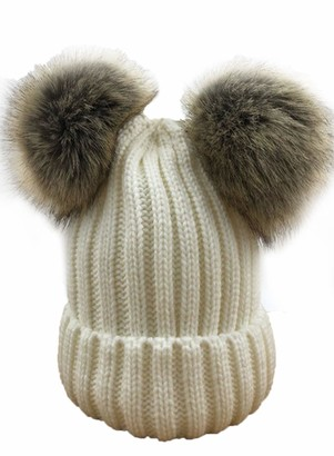 LOSRLY Womens Fashion Warm Suede Exquisite Elegant Double Faux Fur Pompom Ball Soft Comfortable Knitting Beanie Hat White