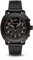 Emporio Armani Large Stainless Steel Chronograph Watch w/ Leather Strap, Black