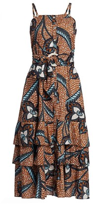 Figue Marina Belted Print Midi Flare Dress
