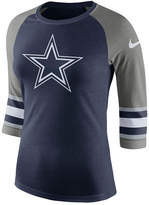 Nike Women's Dallas Cowboys Stripe Sleeve Raglan Triblend T-Shirt