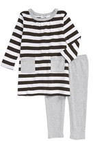 Nordstrom Infant Girl's Stripe Dress & Heathered Leggings Set