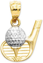 Macy's 14k Gold and Sterling Silver Charm, Golf Club and Ball Charm