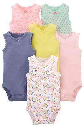 Carter's Simple Joys by Baby Girls' 6-Pack Sleeveless Bodysuit