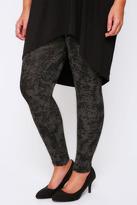 Yours Clothing Stone Smudge Print Full Length Viscose Elastane Leggings