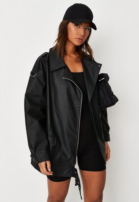 Missguided Oversized Black Faux Leather Long Vintage Biker Jacket