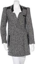 Tibi Leather-Trimmed Tweed Coat