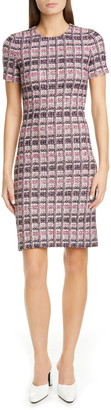 St. John Monarch Textured Tweed Knit Sheath Dress