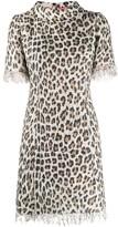 Blumarine fringed leopard fitted dress