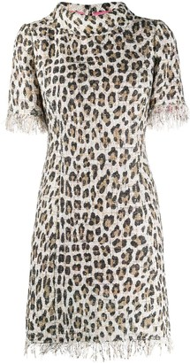 Blumarine Fringed Leopard Fitted Dress