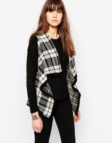 Only Check Print Button Cardigan