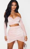 Red Label Redlabel Shape Pink Glitter Velvet Bardot Wrap Crop Top