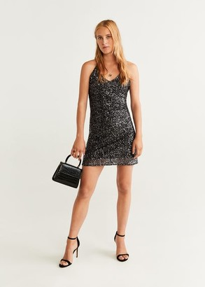 MANGO Sequin embroidered dress black - 2 - Women