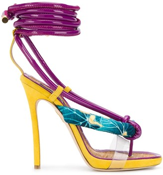 DSQUARED2 Flip Flop-Strap Ankle Wrap Sandals