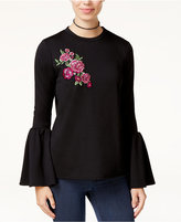 SHIFT Juniors' Embroidered Applique Bell-Sleeve Sweatshirt, Created for Macy's