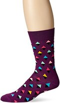 Happy Socks Men's 1pk Unisex Combed Cotton Crew-Purple Mini Diamond