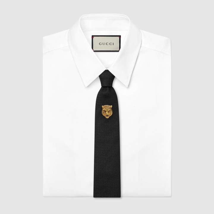 Gucci Tiger head underknot silk wool tie