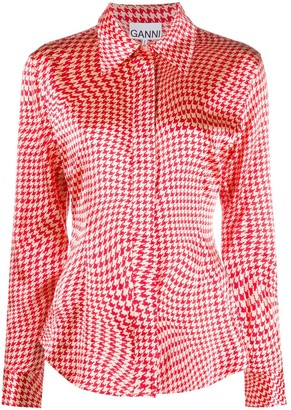 Ganni Houndstooth Long-Sleeve Shirt