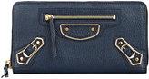 Balenciaga Women's Metallic Edge Zip-Around Continental Wallet-NAVY