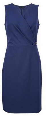 Dorothy Perkins Womens Navy Tab Detail Wrap Dress