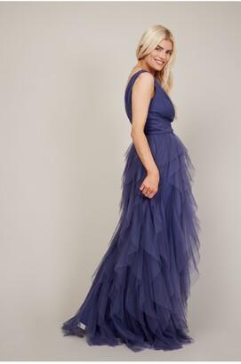 Little Mistress Bridesmaid Leonora Lavender Grey Ruffle Mesh Maxi Dress