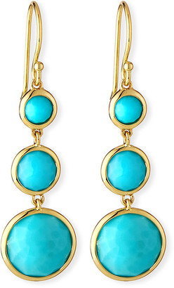 Ippolita 18k LollipopA Three-Stone Drop Earrings in Turquoise