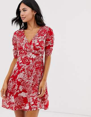 Brave Soul lola printed wrap dress with side button fastening-Red