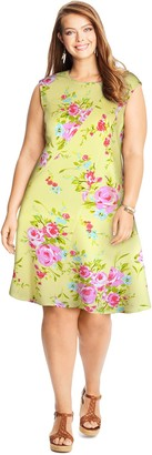Just My Size Women's Plus Textured Fit & FlareDress