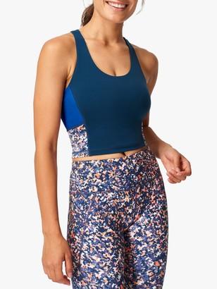 Sweaty Betty Power Crop Gym Vest, Blue Pixelated Print