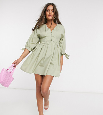 ASOS DESIGN Petite cotton poplin button neck mini smock dress with tie sleeves in light khaki