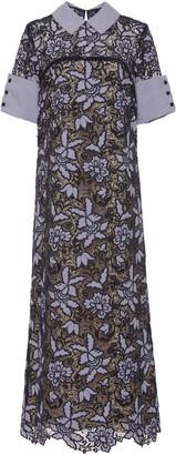 Lee Mi Jong Collared Cotton-Blend Long Shift Dress