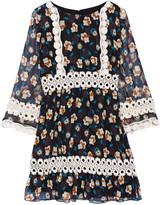 Anna Sui Crochet-trimmed printed silk-georgette mini dress