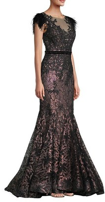 Mac Duggal Velvet Floral Applique Mermaid Gown