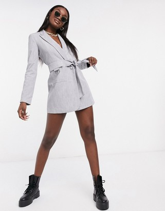 4th + Reckless 4th & Reckless buckle detail blazer dress with belt in grey