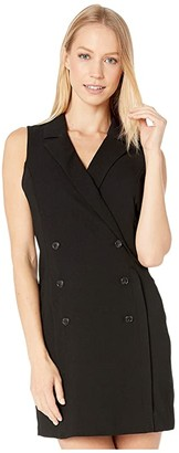 BCBGeneration Button Front Tuxedo Dress GEF6229545 (Black) Women's Dress