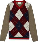 Gucci Argyle v neck wool jumper 4-12 years
