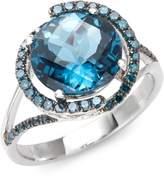 Effy 14K White Gold London Blue Topaz & Blue Diamond Ring