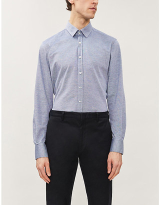 Canali Spread-collar regular-fit cotton shirt