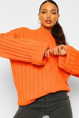 boohoo Tall Wide Rib Turn Up Cuff Sweater