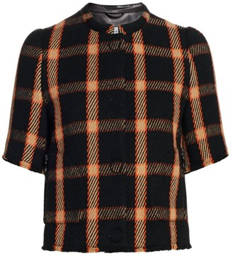Akris Punto Short-Sleeve Plaid Wool-Blend Jacket